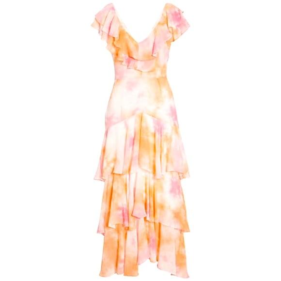 WAYF Chelsea Tiered Ruffle Maxi Dress (Tie Dye)
